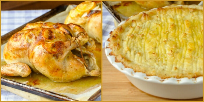 Garlic Lemon Roast Chicken & Smoked Cheddar Duchess Potatoes