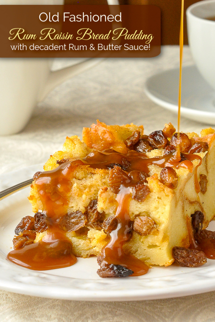 Rum Raisin Bread Pudding pictured s a single serving with title text added for Pinterest