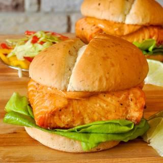 Cedar Planked Salmon Burger on D'Italiano Herb & Garlic Hamburger Buns