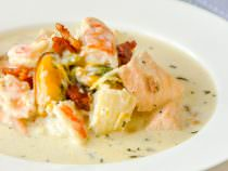 Creamy Seafood Chowder - with cod, salmon, shrimp and mussels.
