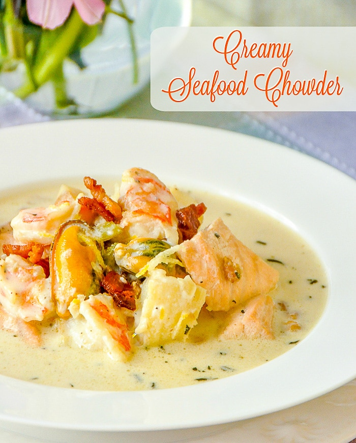 Creamy Seafood Chowder photo with title text for Pinterest