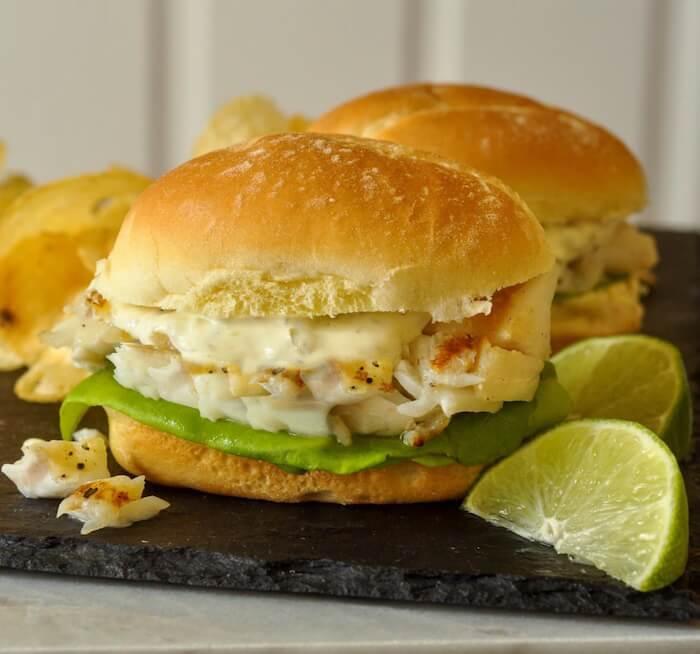 Grilled Cod Sandwich on D'taliano Brizzolio Rolls