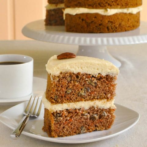 Maple Pecan Carrot Cake with Maple Buttercream Frosting