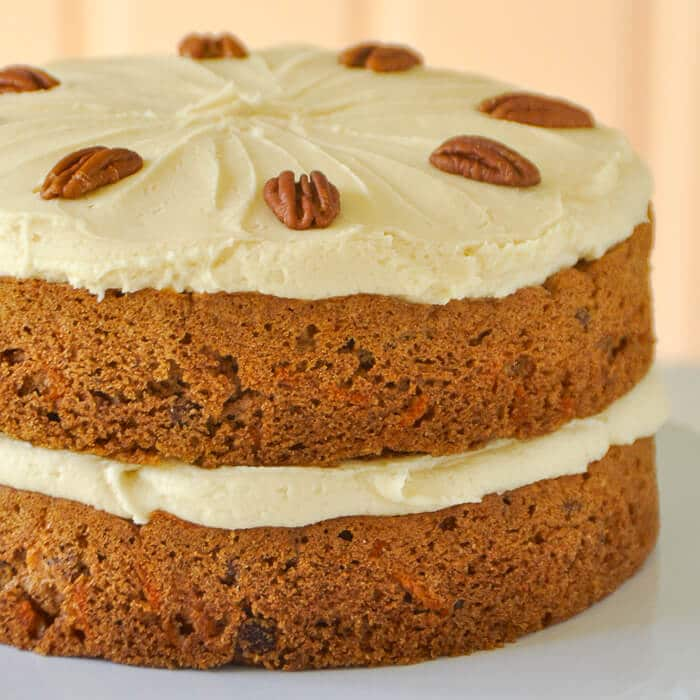 Maple Pecan Carrot Cake with Maple Buttercream Frosting A delicious maple twist on carrot cake.