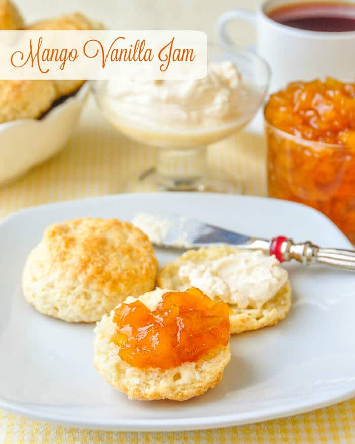Vanilla Mango Jam - the perfect elegant jam for tea with scones.