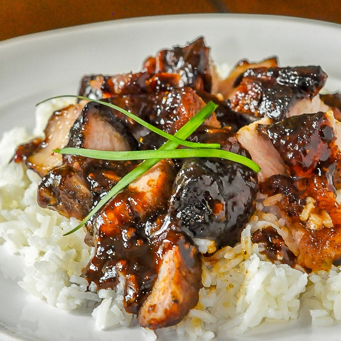 Asian Glazed Pork Belly close up photo of a single serving for recipe featured image