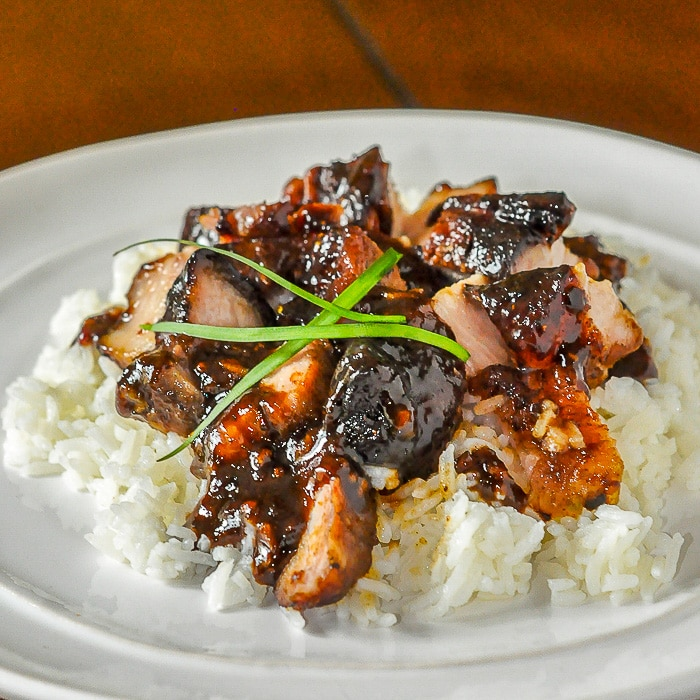 Asian Glazed Pork Belly on a bed of white rice