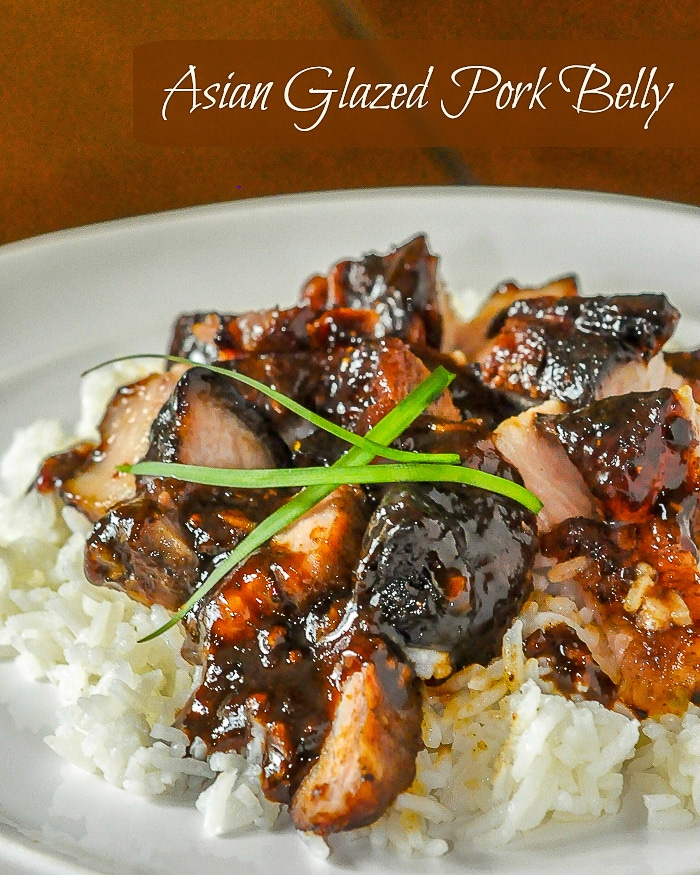 Asian Glazed Pork Belly photo with title text for Pinterest