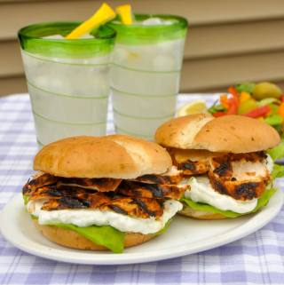 Chicken Souvlaki Sandwiches with Lemon Mint Taztziki
