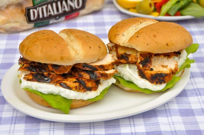 Chicken Souvlaki Sandwiches with Lemon Mint Taztziki