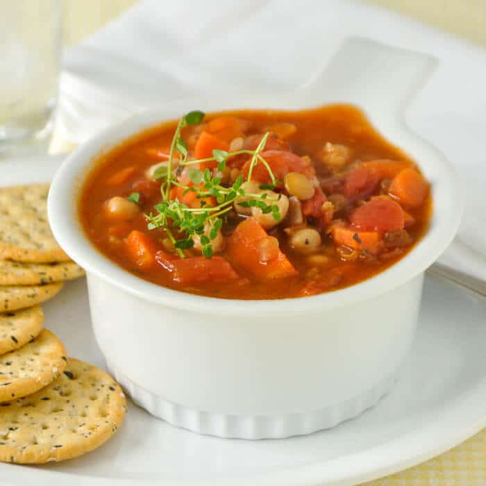 Chickpea Soup with Green Lentils and Tomato