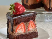 Chocolate Whipped Cream Cake with Strawberries