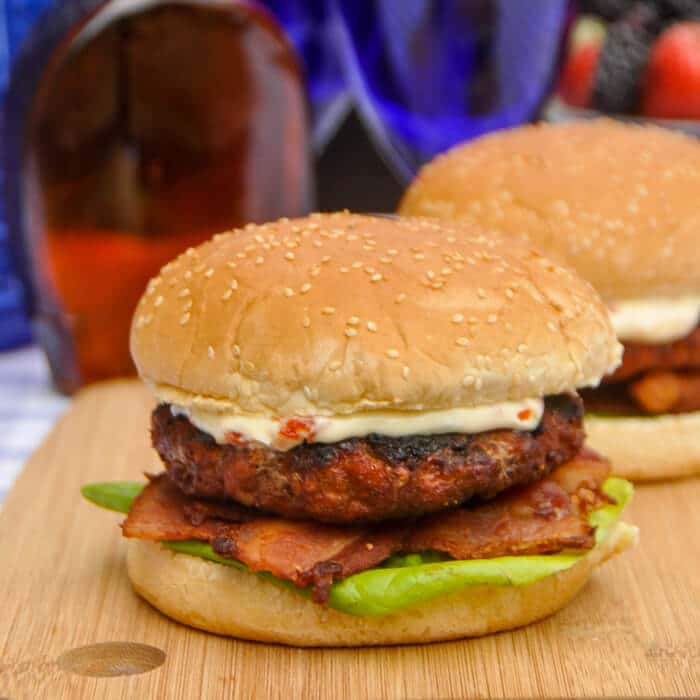 Barbecue Spice Pork Burger with Maple Bacon