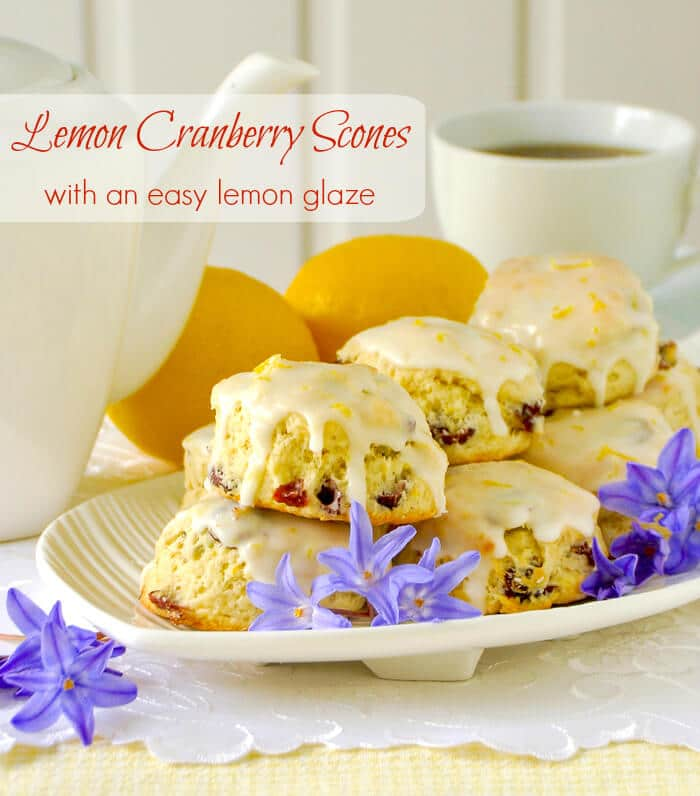 Lemon Cranberry Scones with an easy lemon glaze