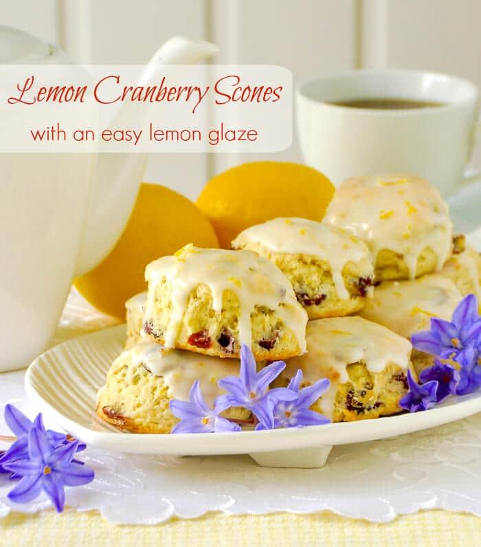 Lemon Cranberry Scones with an easy lemon glaze