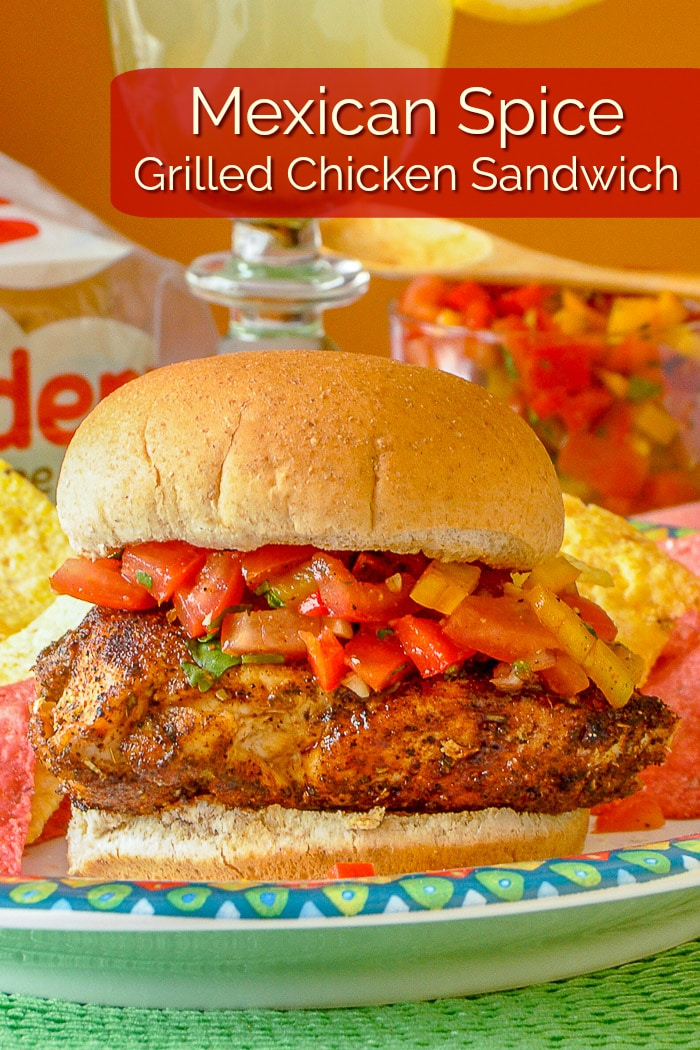 Mexican Spice Grilled Chicken Sandwich photo with title text for Pinterest