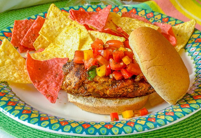 Mexican Spice Grilled Chicken Sandwich with tortilla chips on a multicoloured plate