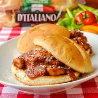 Seafood Marinara Sandwiches on D'Italiano Herb & Garlic Hamburger Buns
