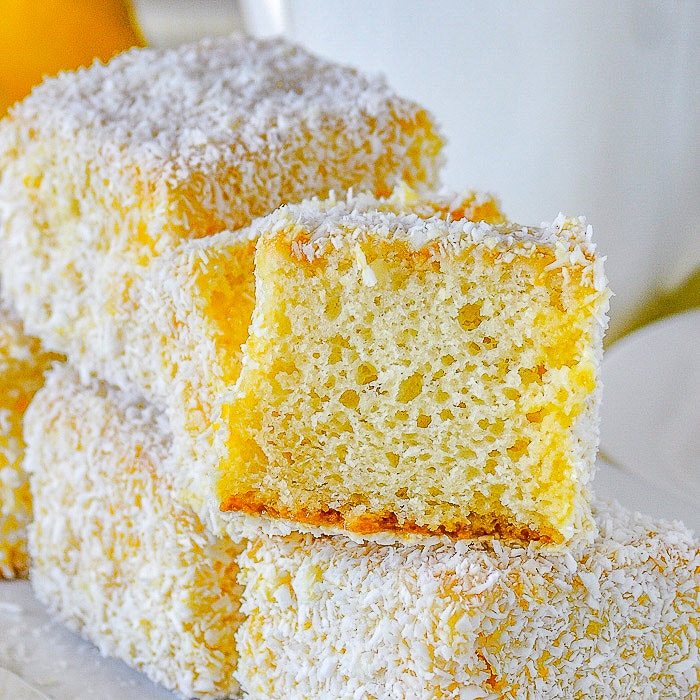 Lemon Lamingtons close up image.
