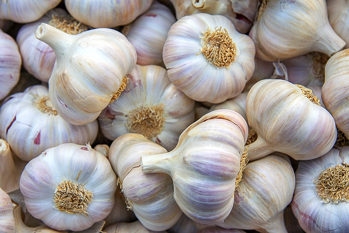 A background of bulbs of fresh garlic for sale at a market