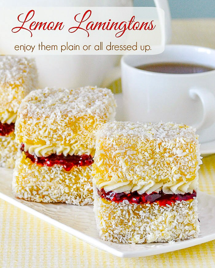 Lemon Lamingtons image with text for Pinterest