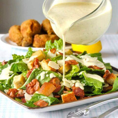 Roasted Garlic Caesar Salad Dressing - the easy way using a plain mayo base.