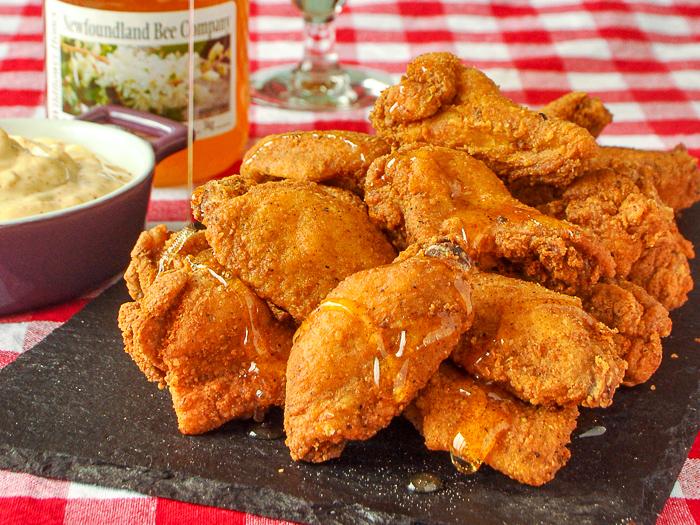 Southern Fried Wings on a slate platter