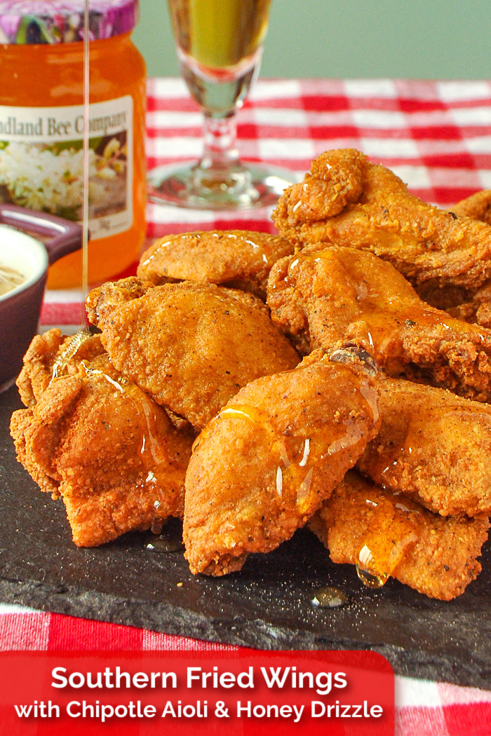 Southern Fried Wings photo with title text added for Pinterest