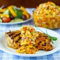 Pineapple Salsa on Lemon Paprika Grilled Chicken