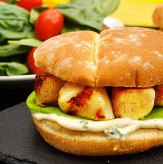 Grilled Scallops with Lemon Basil Mayo on D'Italiano Brizzolio Hamburger Buns