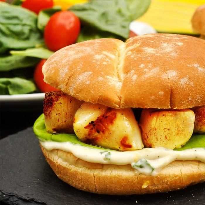 Scallop Burger with Lemon Basil Mayo