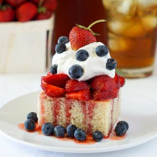 White Velvet Strawberry Shortcake dressed up with blueberries for the 4th of July