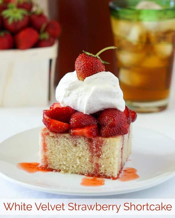White Velvet Strawberry Shortcake image with title text