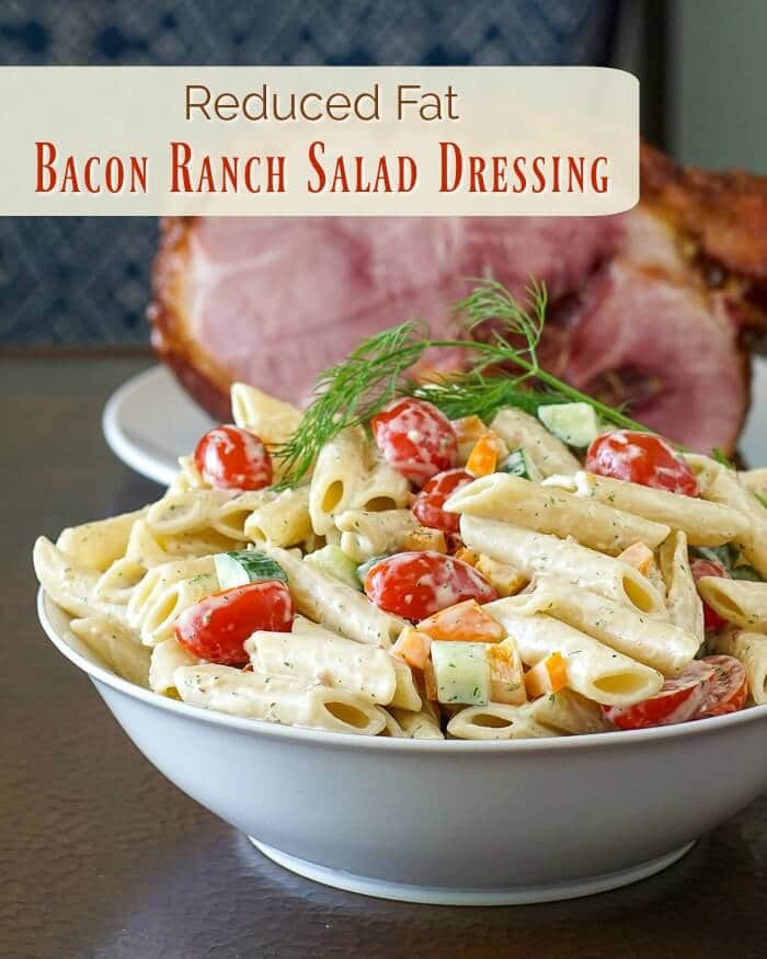 Homemade Bacon Ranch Salad Dressing. Easy to make as a low fat dressing too, using half fat mayo; plus ideas for Bacon Ranch Pasta Salad and Bacon Ranch Egg Salad.