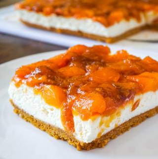 No Bake Cheesecake with Roasted Peach Jam