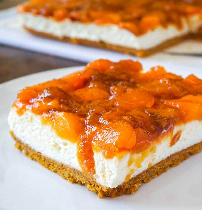 No Bake Cheesecake with Roasted Peach Jam