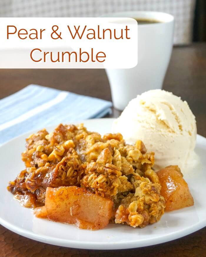 Pear Crumble with Walnuts image with title text
