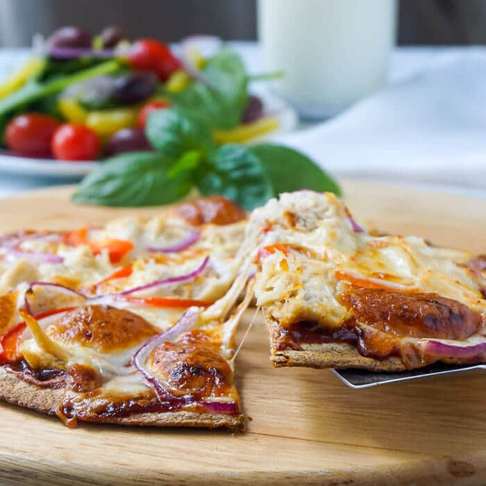 Quick BBQ Chicken Tortilla Pizza