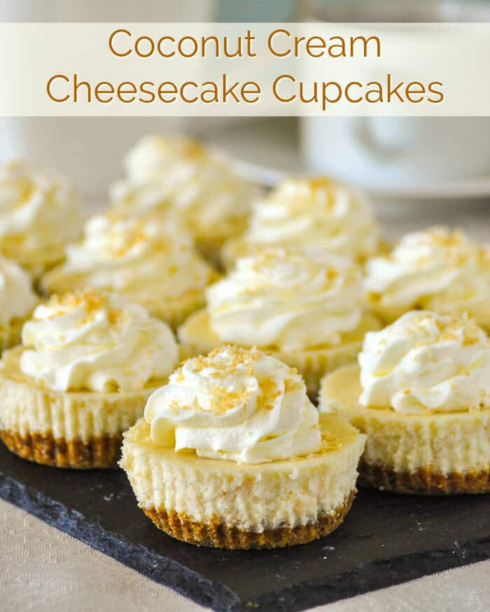 Coconut Cream Cheesecake Cupcakes. At only 224 CALORIES EACH, these delectable mini cheesecakes are exactly the same as our full sized Coconut Cream Cheesecake, except in a smaller, portion controlled size. #lowcal #lowcaldesserts