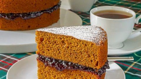 Jam Jam Cake close up photo of single slice on white plate