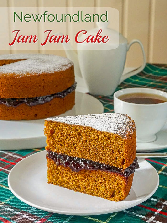 Jam Jam Cake image with title text for Pinterest
