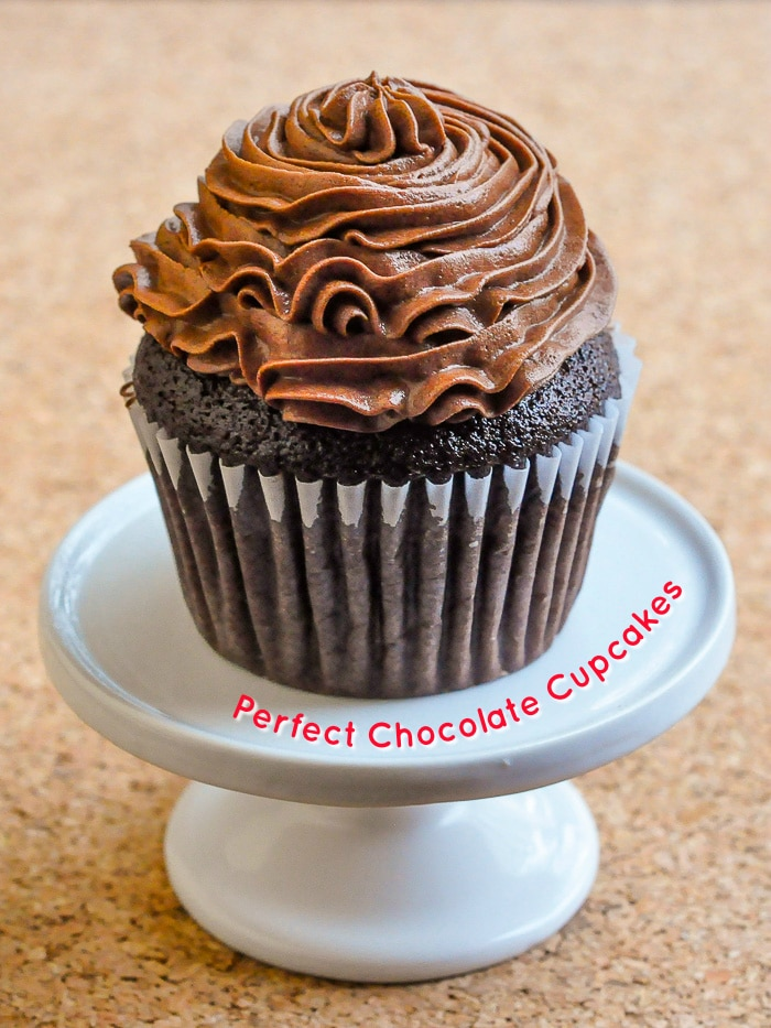 Perfect Chocolate Cupcakes photo with title text added for Pinterest