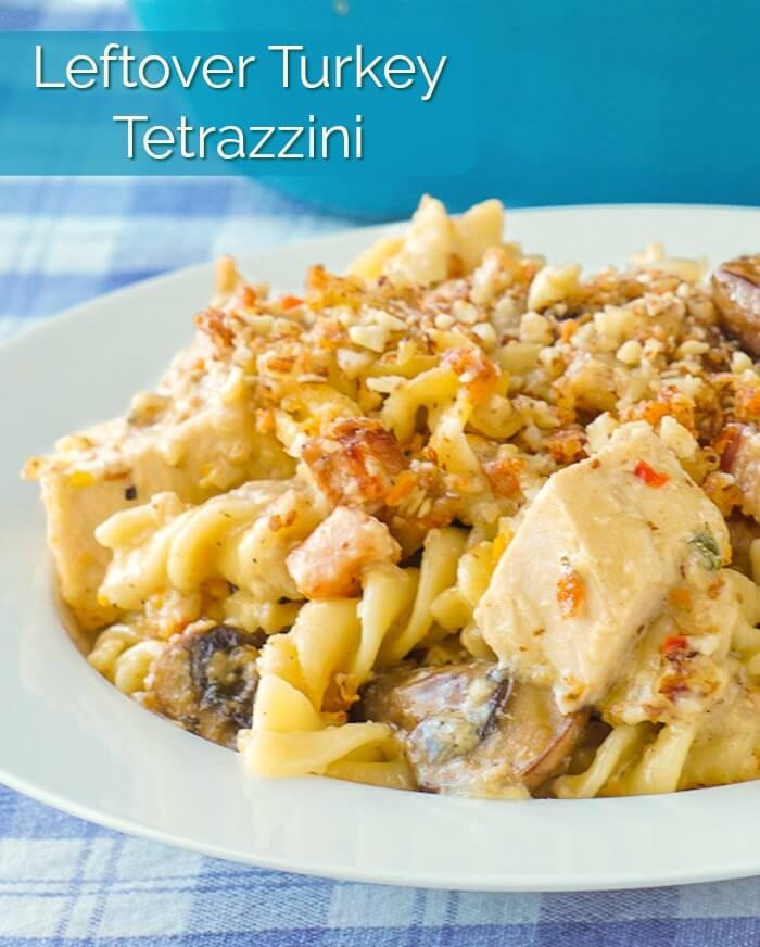 Turkey Tetrazzini with Almond Parmesan Crust image with title text