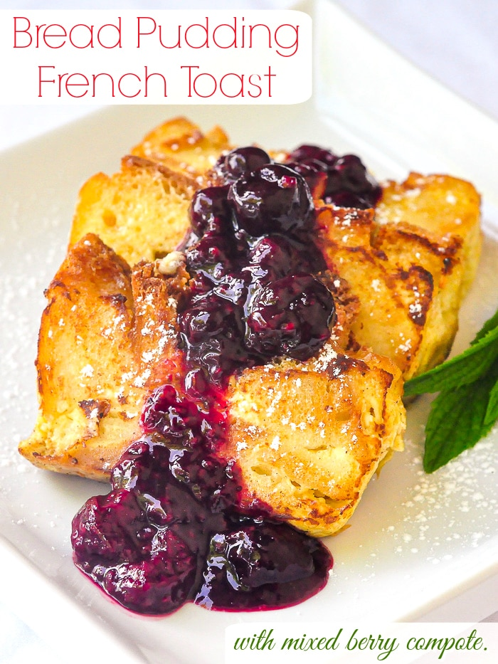 Bread Pudding French Toast photo of one serving on a white plate with title text added for Pinterest