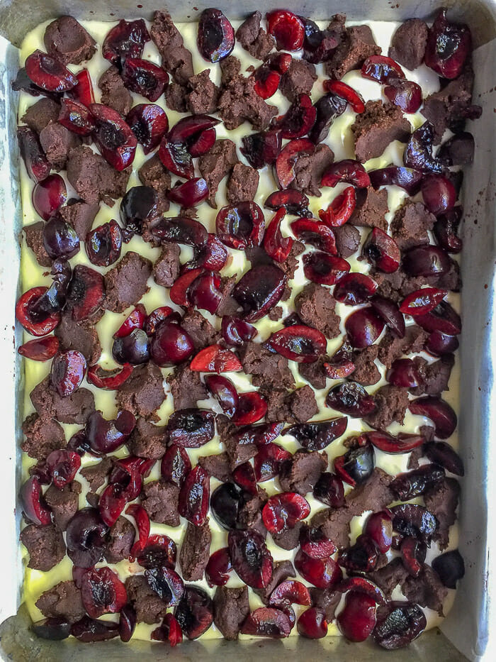 Chocolate Cherry Cheesecake Bars ready for the oven