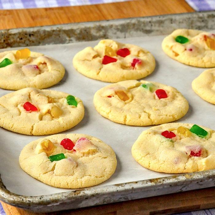 Gumdrop Sugar Cookies cooling on a baking sheetjpg