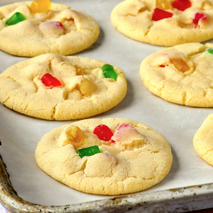 Gumdrop Sugar Cookies om parchment paper lined tray