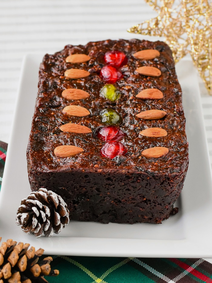 Old English Fruitcake baked in a loaf pan