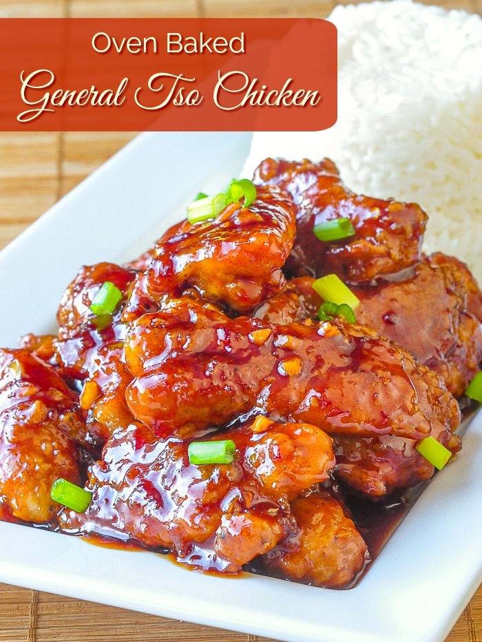 Oven Baked General Tso Chicken photo wiit title text added for Pinterest