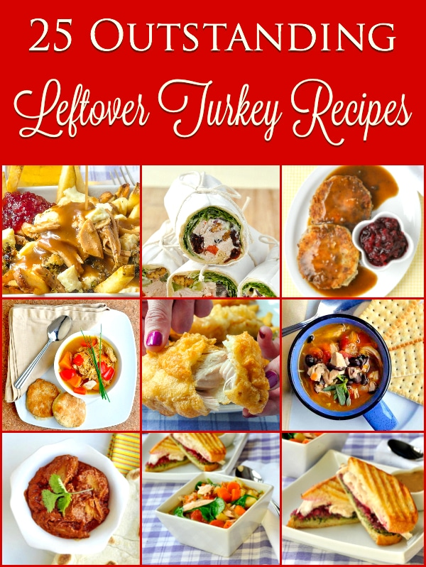 25 Outstanding Leftover Turkey Recipes image with title text for Pinterest.